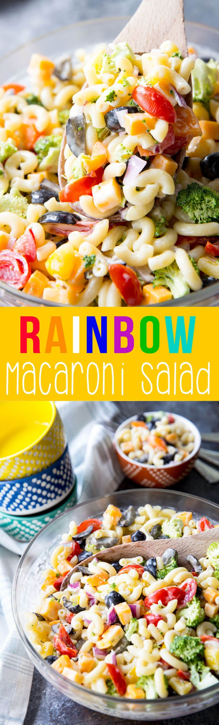 This Rainbow macaroni salad is the perfect summer salad. Light, delicious, and full of great veggies. Awesome for barbeques or picnics.