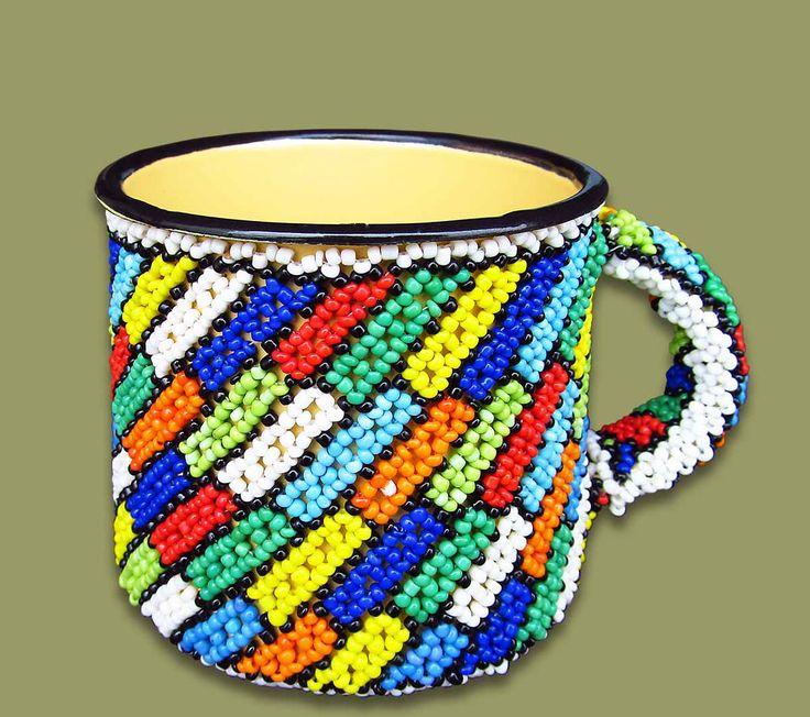 Beaded Tin Mug Small Squares
