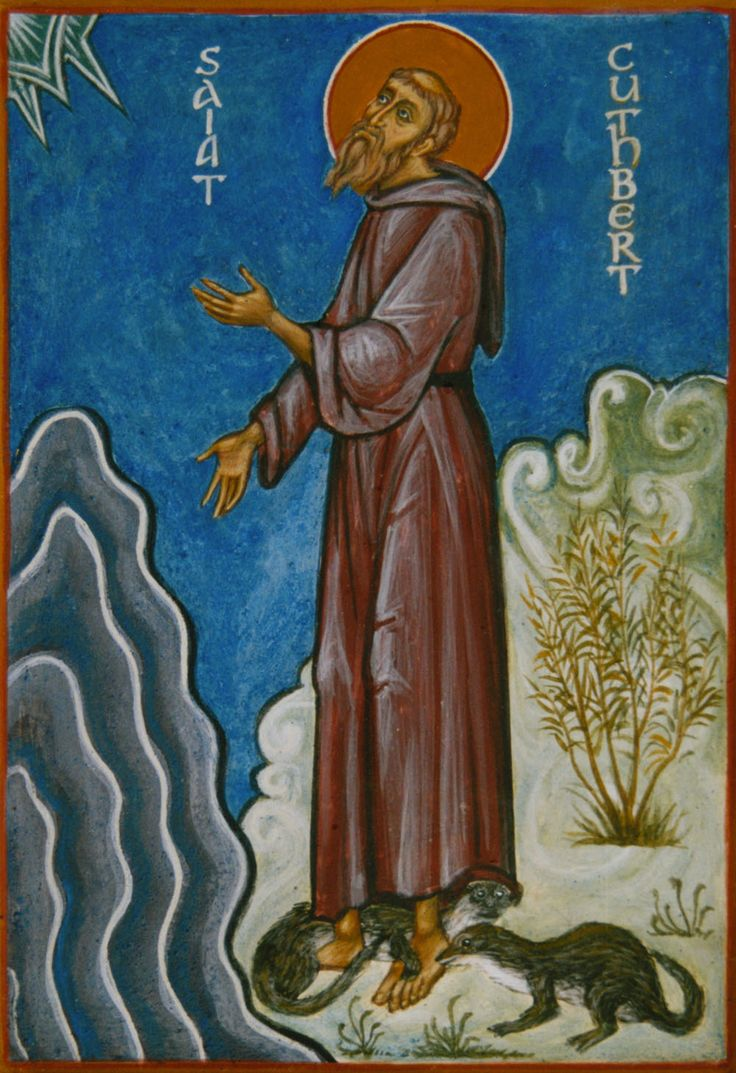Why did nobody tell me that St Cuthbert hung out with OTTERS??  - Aidan Hart Sacred Icons