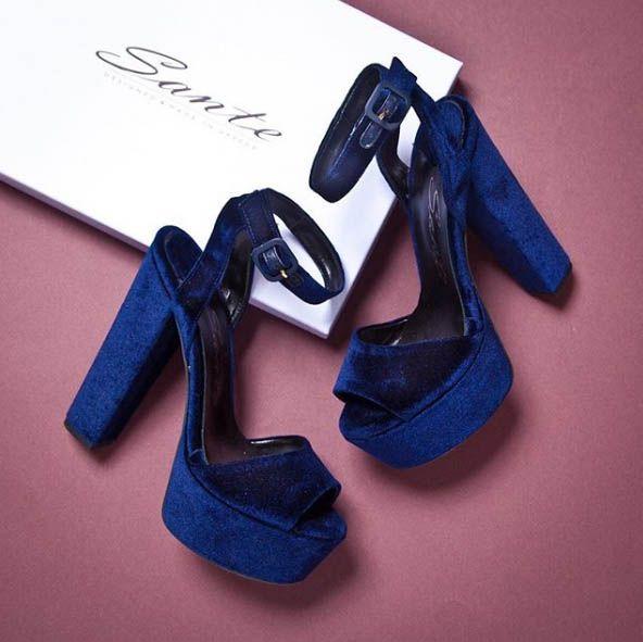 SANTE platform high heeled sandal and the velvet is on! Blue
