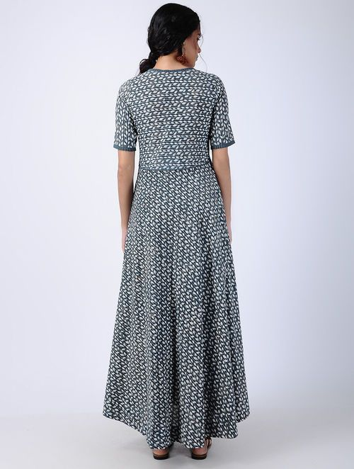 06beee0cb Blue Block-printed Pleated Cotton Maxi Dress Womens Clothing Stores