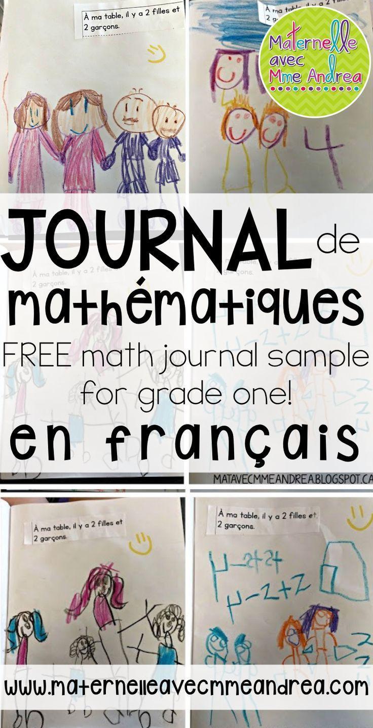 FREE math journal sample | Journal de mathématiques | échantillon gratuite | mathématiques en première année