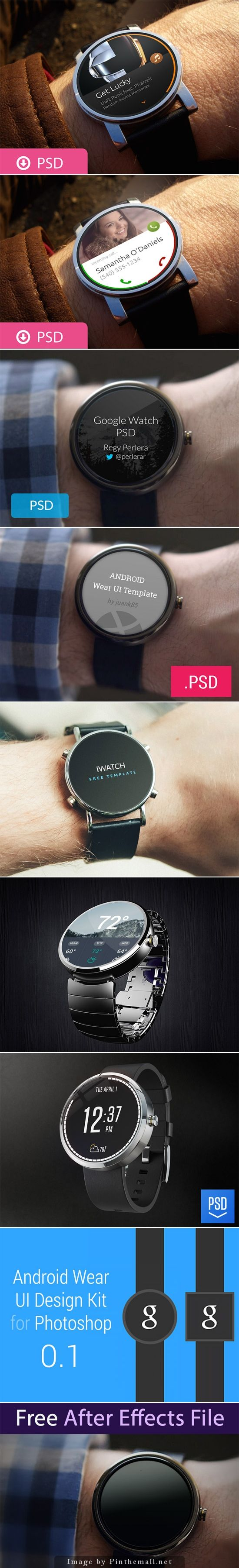 Free Android Wear UI Mockup #interface #watch #ui