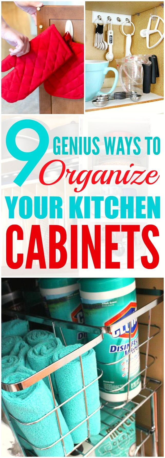 These 9 Genius Ways to Organize Your Kitchen Cabinets are THE BEST! I'm so glad I found these AWESOME tips! Now I have some good ways to keep things straight! Definitely pinning for later!