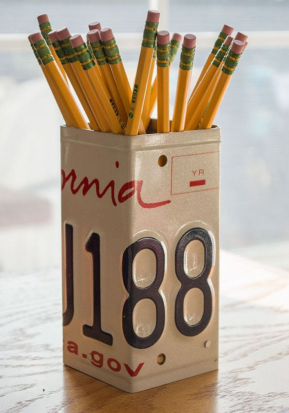 California License Plate Pencil Holder - Pencil Cup - Unique Pencil Cup - Desk Accessories - Office Decor - Pen Cup - Pen Holder - State Art  **Please note that the license plate pencil cup you will receive will look similar to the one pictured but reads California 6ZRA418 dmv.ca.gov  This unique pencil holder has been created from an original California license plate! Use this as one-of-a-kind desk organizer for storing pencils, pens, markers and other writing instruments. This pencil…