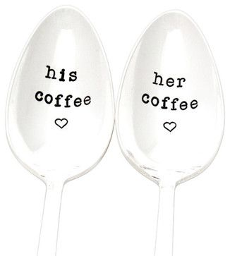 His and Her Hand-Stamped Vintage Coffee Spoons transitional-flatware