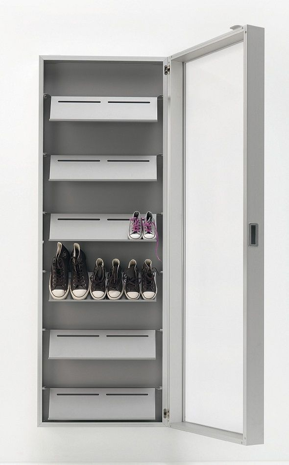 Great Wall Mounted Shoe Cabinet With Mirror Door