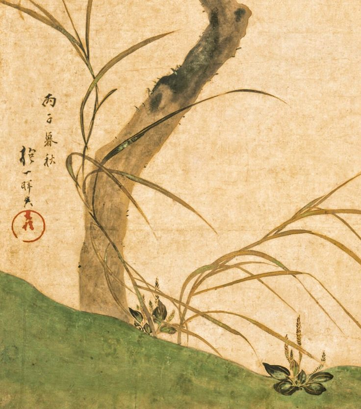 Detail. 酒井抱一筆 柿図屏風 The Persimmon Tree. Sakai Hōitsu (Japanese, 1761–1828). Edo period. 1816. Two-panel Japanese folding screen; ink and color on paper