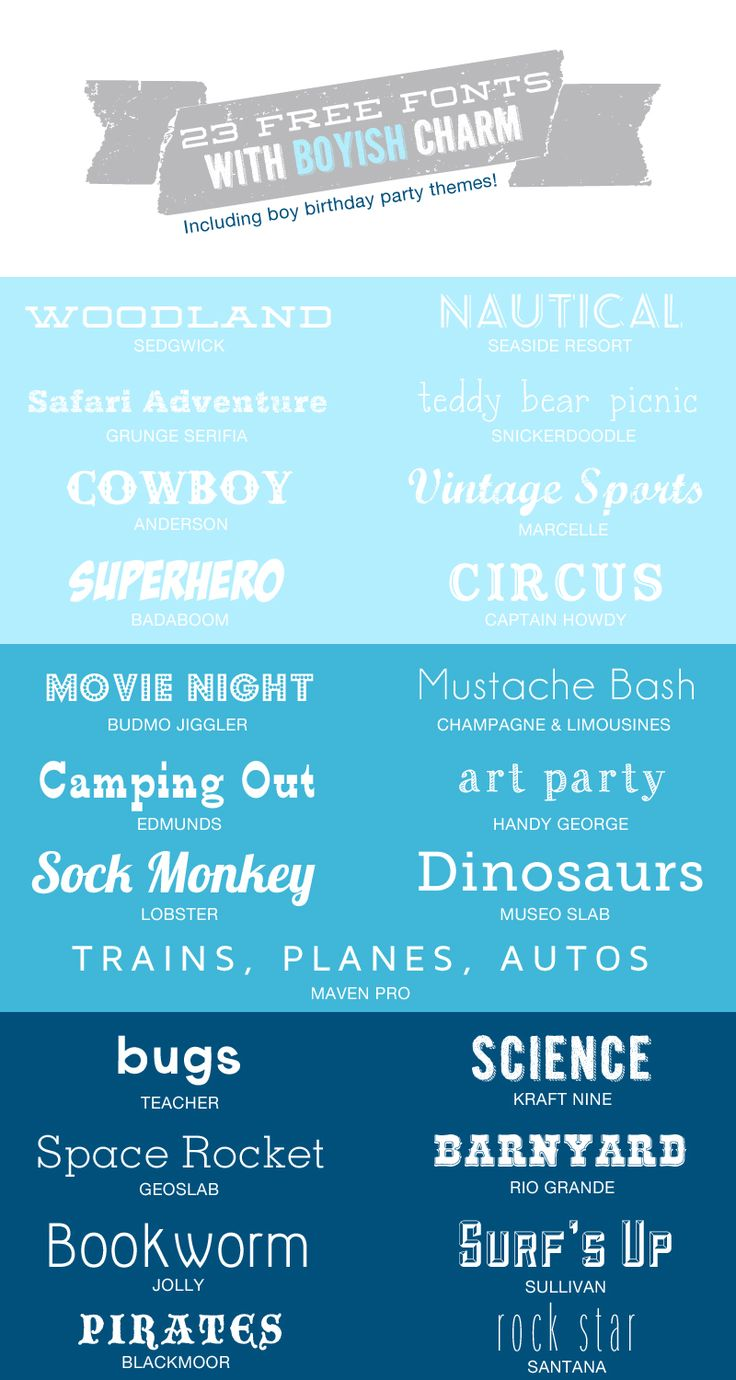 23 Free fonts with Boyish charm. Great for themed parties.