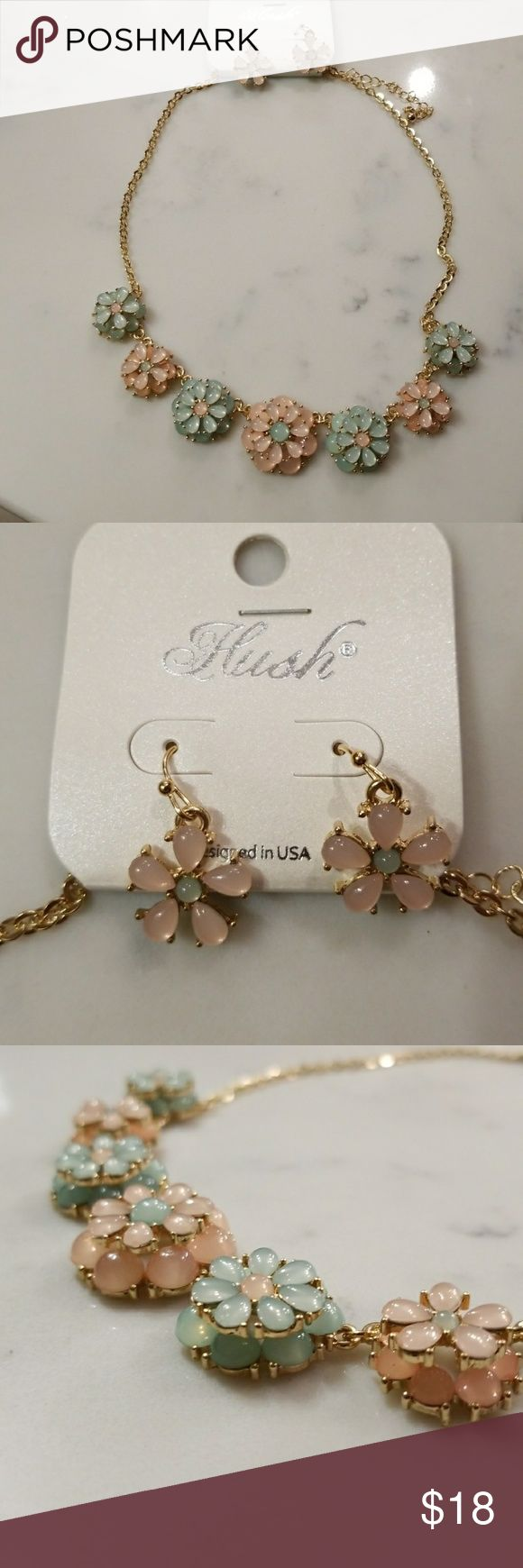 SALE!! Retro style floral statement necklace Really cute, retro style statement necklace, gold tone with pale pink and green layered flowers. Matching earrings included.  Boutique piece, NWT. Make me an offer or bundle for a discount! Hush Jewelry Necklaces