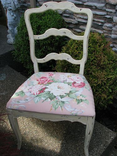 Vintage chair w/ barkcloth cover | Flickr - Photo Sharing!