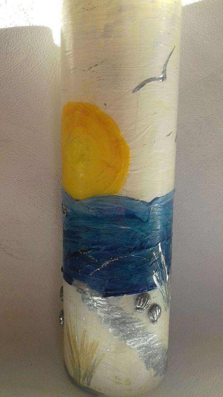 Meer und Sonne gemalt mit Wachs | Kerze kunst, Sonne malen ...