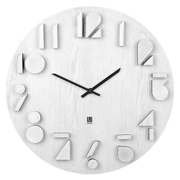 Umbra Shadow Wall Clock White Designer Wooden Clock