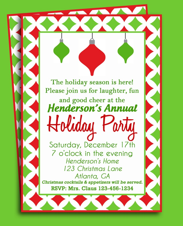 92 best Christmas Party Invitations images on Pinterest | Christmas ...
