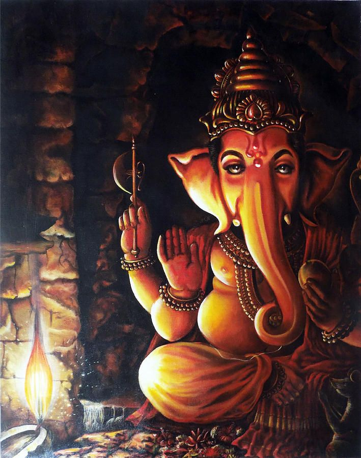 Portrait Of Lord Ganapathy Ganesha Painting by Arun Sivaprasad