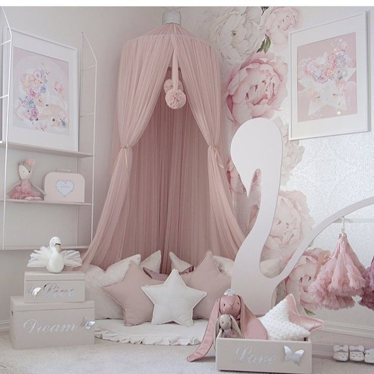 Gorgeous pink peony wall decor with canopy for reading nook. Beautiful set up fo…