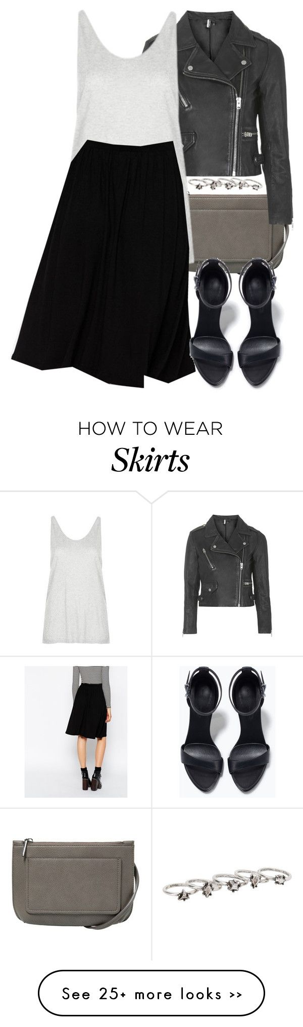 """Derek Inspired Outfit with a Black Midi Skater Skirt"" by veterization on Polyvore featuring MANGO, Topshop, Boutique, ASOS and Zara"