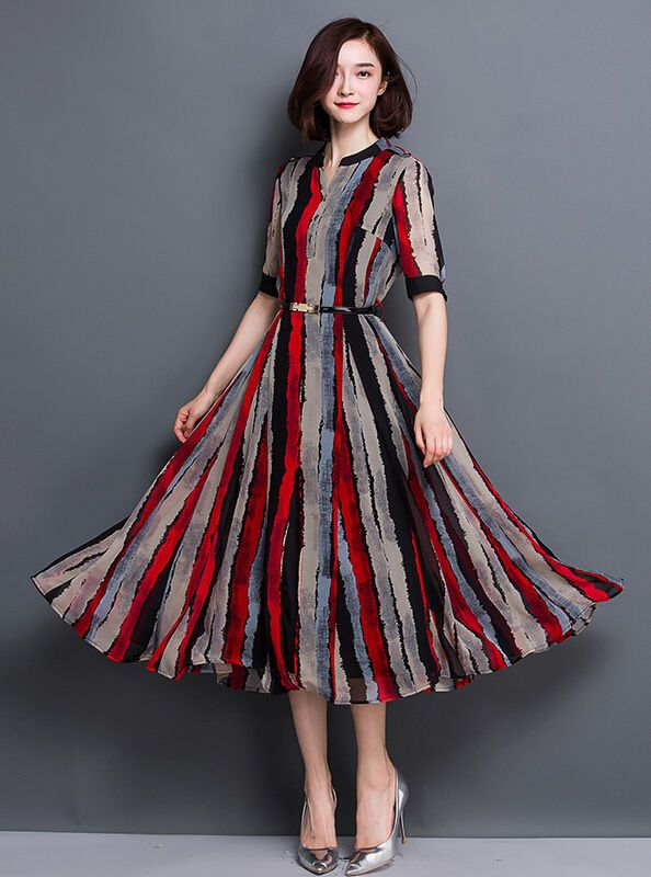 L Vogue Womens Full Length Loose Boho Maxi Pinstriped Short Sleeves Dresses New #Unbranded #Maxi #Cocktail