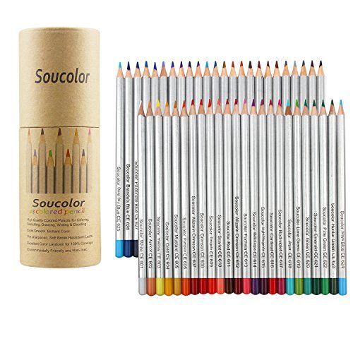Soucolor 48-color Colored Pencils Soft Core Art Coloring Drawing Pencils for Adult Coloring Book SketchCrafting Projects