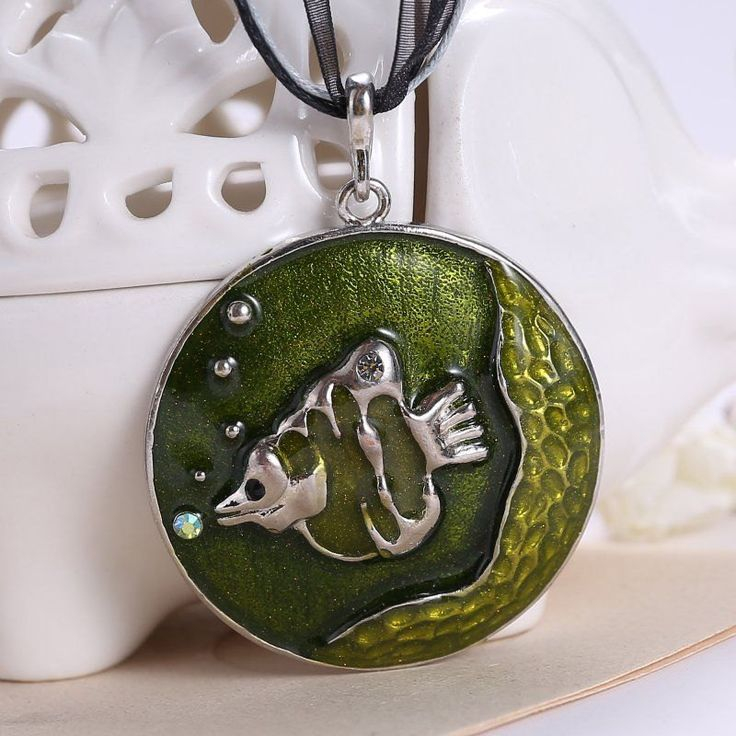 Chunky Retro Green Fish with Real Gold Dust Embedded Inside Rhinestone Steampunk Inspired Pendant on Black Leather and Lace Chord Necklace - pinned by pin4etsy.com