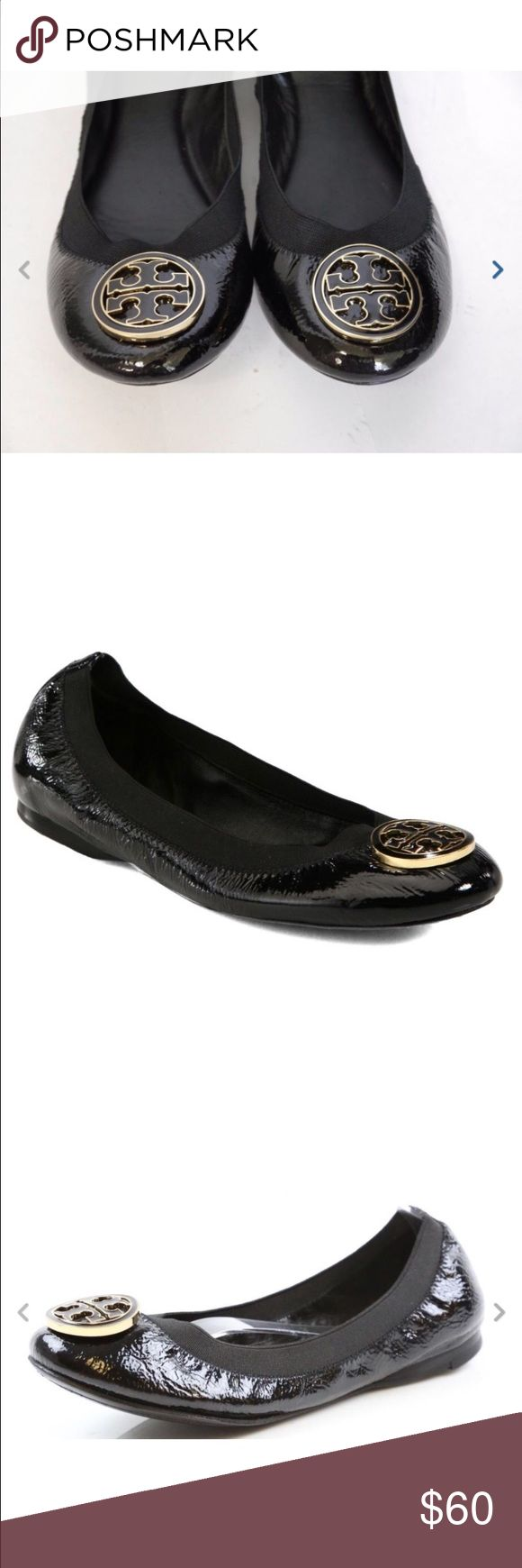 Tori Burch 7.5M ballet flat Black patent leather ballet flats with gold and black signature logo - only worn once or twice! Tory Burch Shoes Flats & Loafers
