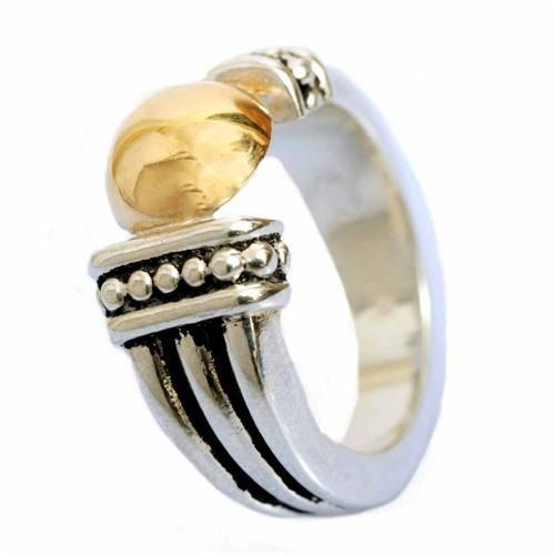 Argento e oro giallo anello anello ossidato di artisanimpact
