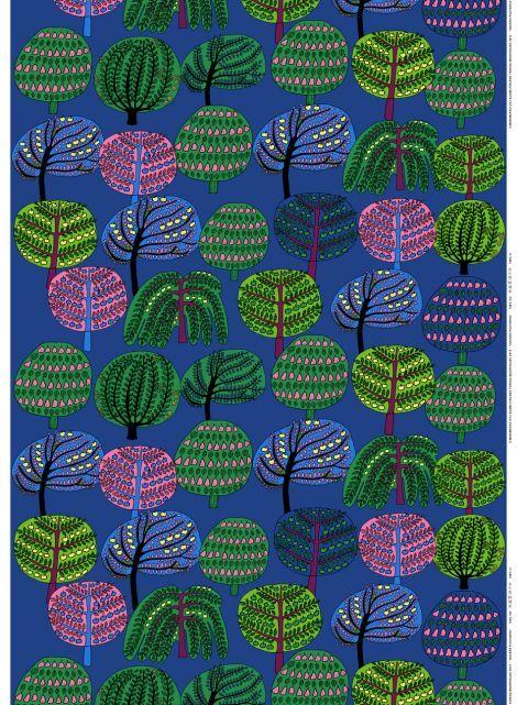 Marimekko Laukku Sininen : Isois?n puutarha kangas sininen vihre? v punainen