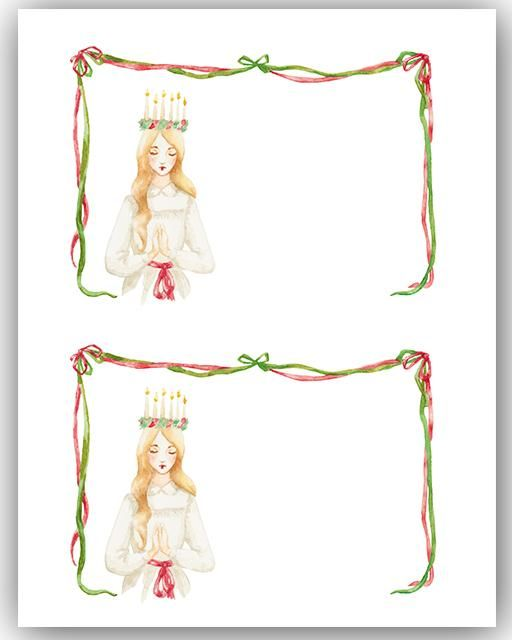 Free Printable Santa Lucia Notecards