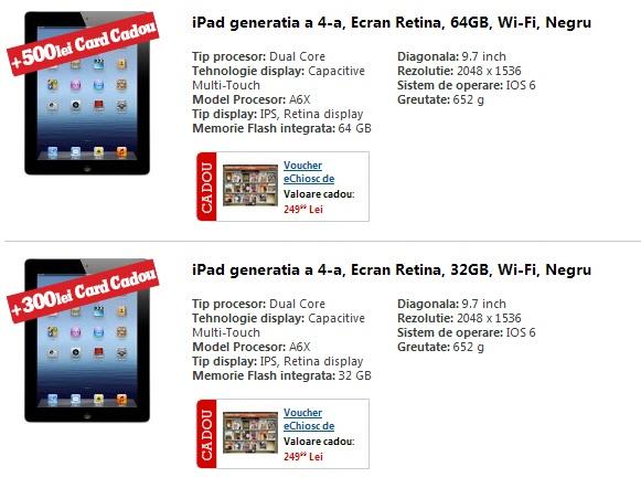 Cumpara un Apple iPad 4 si primesti card cadou de pana la 500 lei   Zgarciti.ro
