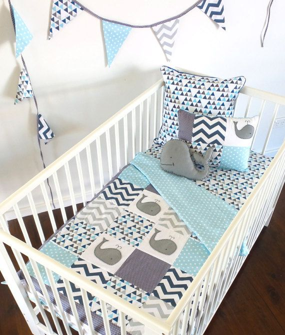Moby the Whale Baby  Crib Quilt 4pc set.quilt 2 by AlphabetMonkey
