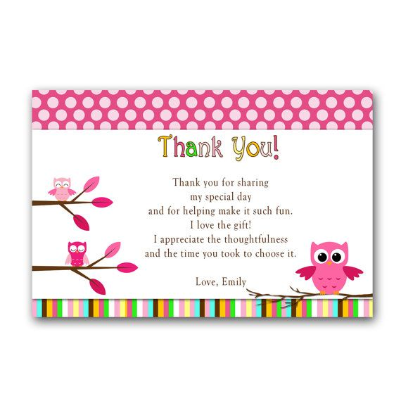 43 best Owl Party Ideas Birthday Baby Shower images – Thank You Card Birthday