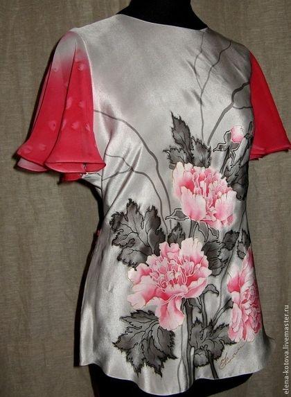 """Блуза батик """"Пионы"""" - батик купить,блуза батик,батик пионы,натуральный шелк"""