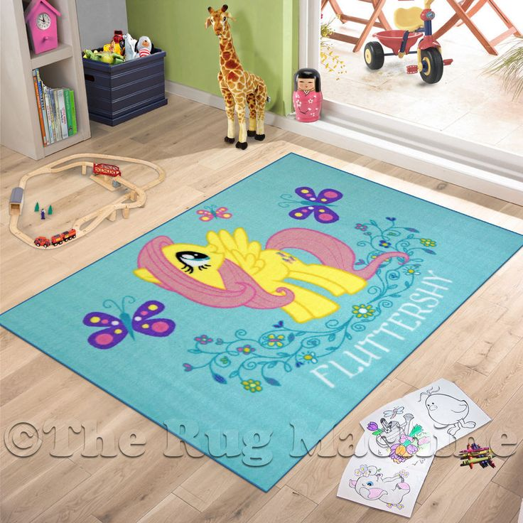 MY LITTLE PONY FLUTTERSHY KIDS FUN PLAY RUG 100x150cm NON SLIP U0026 WASHABLE  **NEW