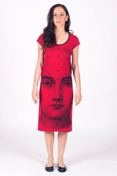 Skull Phrenology - Back Seam Cap Sleeve Dress