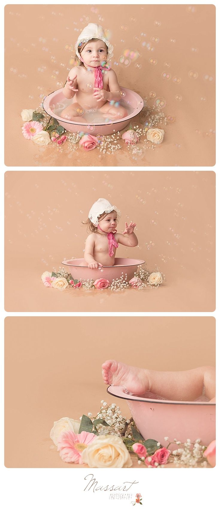 Girly one year milestone session in studio with vintage bath and bubbles after cake smash; first birthday; flowers and bonnet | Photo by Massart Photography of RI www.massartphotography.com; info@massartphotography.com