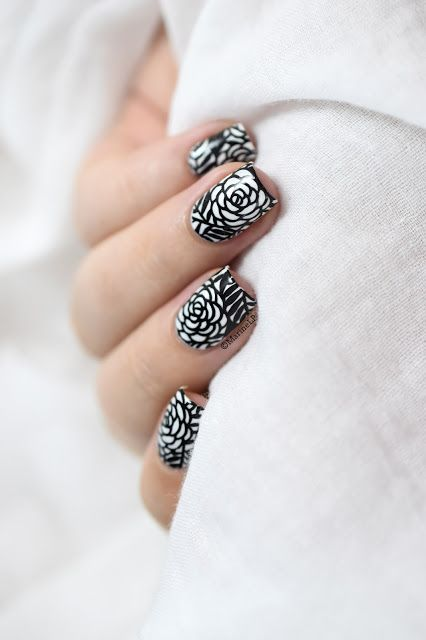 Marine Loves Polish: Black & White Roses nail art - Nicole Diary ND102…