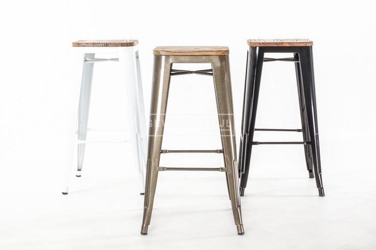 Industriële Café Kruk met houten zitting - Combineer met Tolix   Gewoonstijl