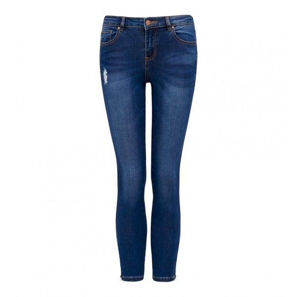 Hannah Petite Low Rise Skinny Crop Jeans ($23) ❤ liked on Polyvore featuring jeans, white ripped jeans, super skinny ripped jeans, white distressed jeans, destroyed skinny jeans and super skinny jeans