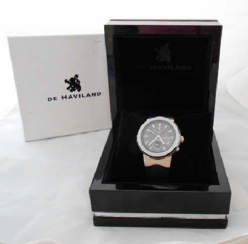 Vintage De Haviland Automatic watch 17 Jewels 41mm Dial Black Rubber Band #DeHaviland