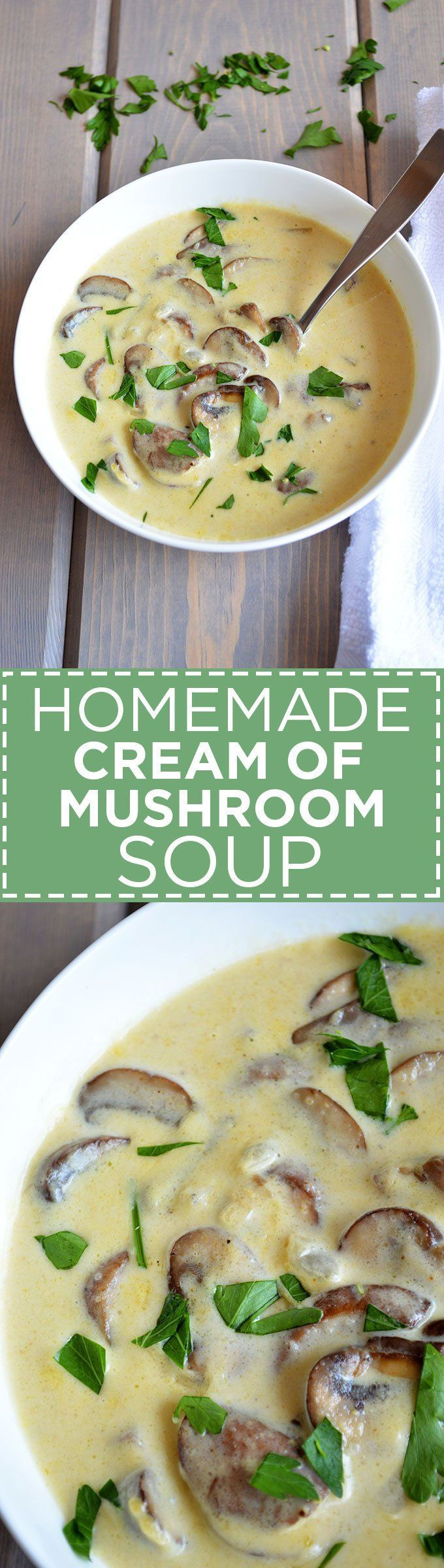 Homemade Cream of Mushroom Soup | Skip the can this #Thanksgiving and make your famous casseroles + stews with this simple, earthy, oh-so-creamy Homemade Cream of Mushroom Soup. #vegetarian #holidays