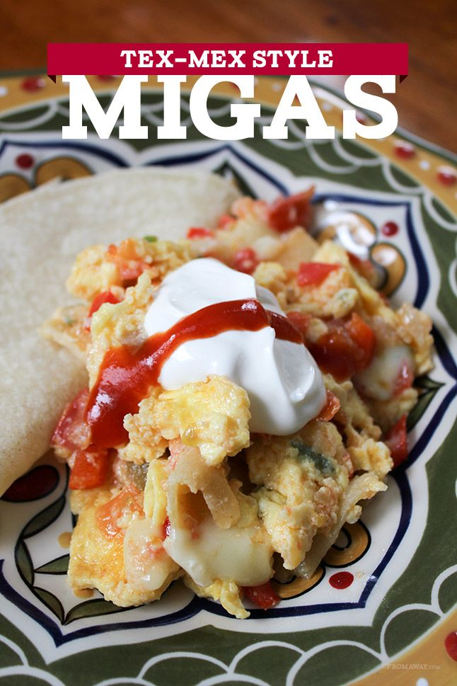 Tex Mex Migas  (eggs, tortilla strips, tomatoes, peppers, onions, and cheese)