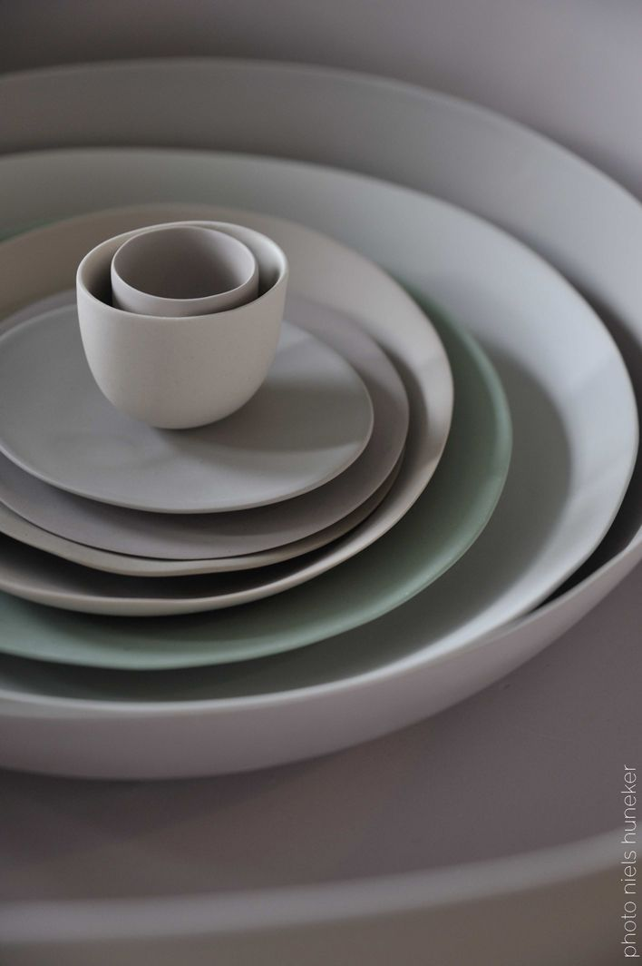 Soft green, grey and off white ceramic bowls