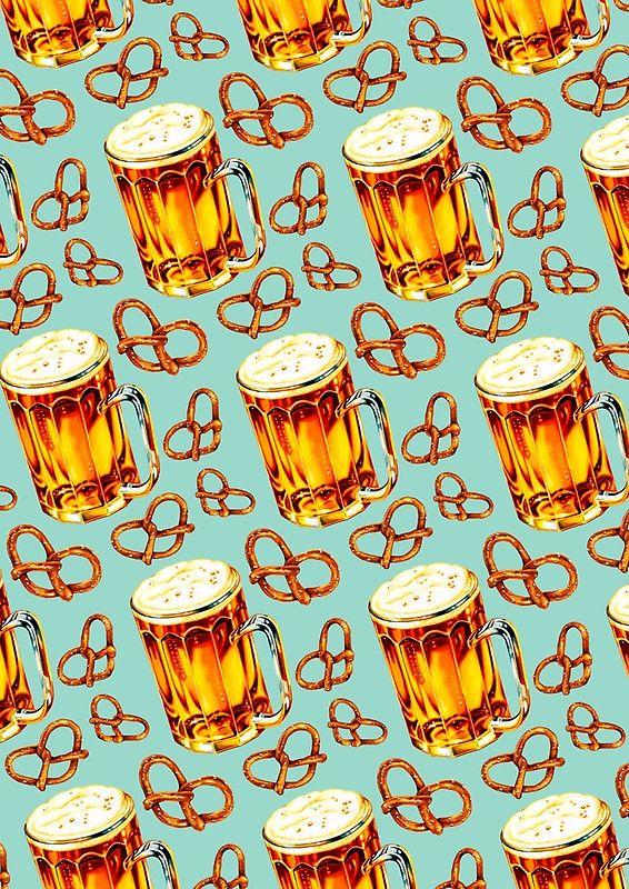 Kunst & Design | Bier | Brezel | Oktoberfest | Print | Druck | Kunstdruck | Beer & Pretzel Pattern von Kelly Gilleran