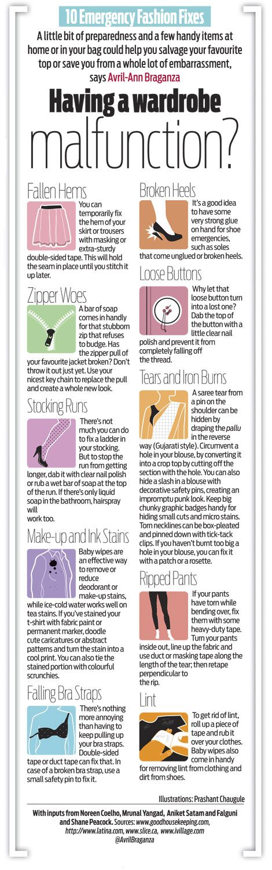 Having a wardrobe malfunction? 10 Emergency Fashion Fixes - Infographics #Fashion #Style #Dressing
