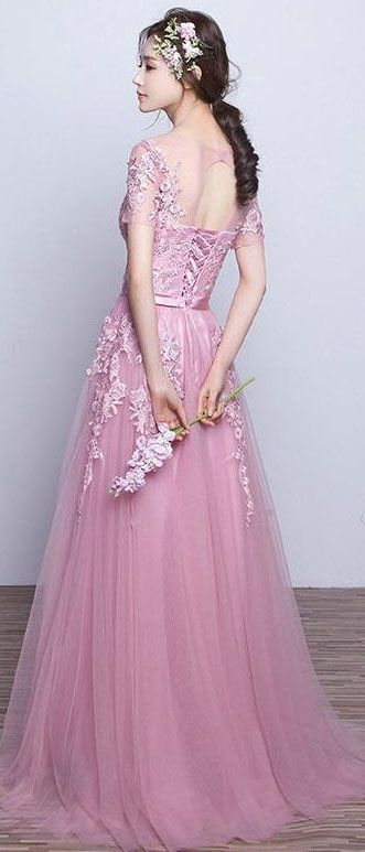 US$136.21-Beautiful Tulle Appliqued Pink Long Prom Dress with Sleeves. https://www.newadoringdress.com/appliques-tulle-stuning-new-arrival-p331280.html.  Free Shipping! NewAdoringDress.com selected the best prom dresses, party dresses, cocktail dresses, formal dresses, maxi dresses, evening dresses and dresses for teens such as sweet 16, graduation and homecoming. #prom #dress