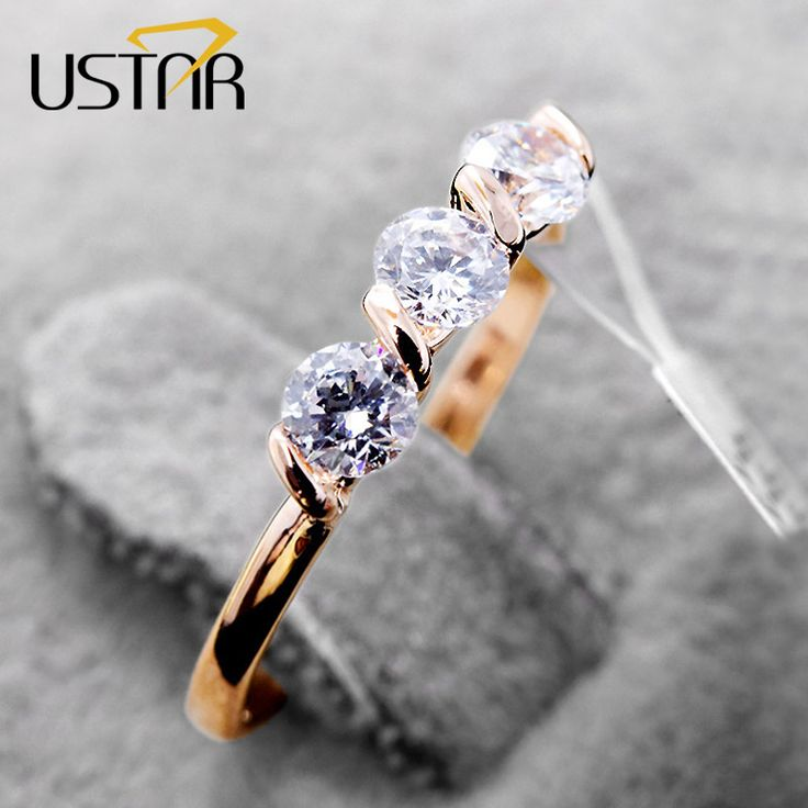 CZ Diamond Jewelry Wedding rings for women Rose Gold Plated Austria Crystals rings female Anel bijoux Brand top quality