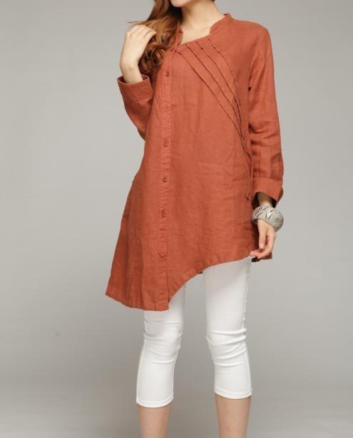 linen Tilt pleated collar asymmetric shirt by MaLieb on Etsy, $89.00