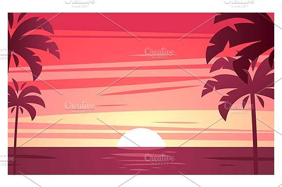 Tropical Sunset by Kurokstas on @creativemarket