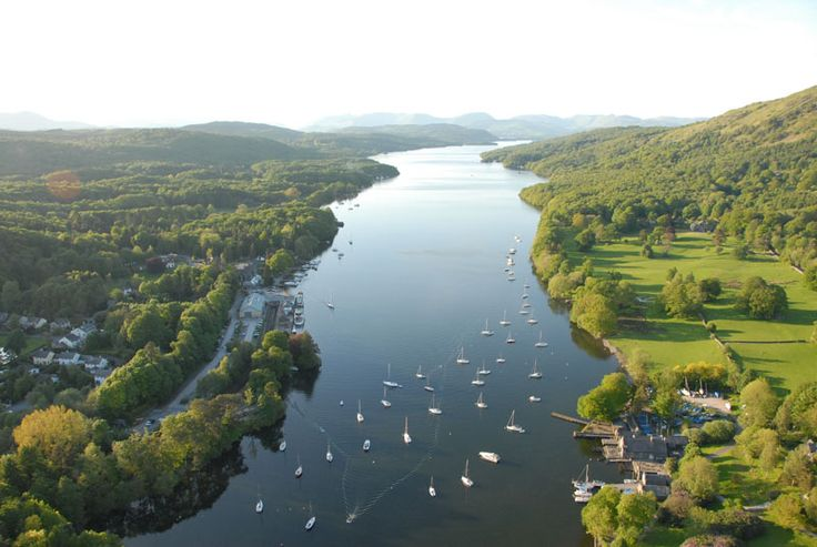 Looking north from the foot of Windermere, with Fell Foot Park lower right, and Lakeside Pier centre left.