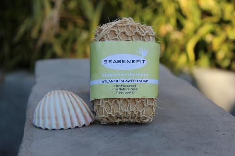 Atlantic Seaweed Soap Wrapped in a Loofah